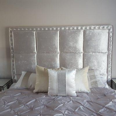 Ritz Gun Metal crushed velvet squared panels with Swarovski crystal buttoned border