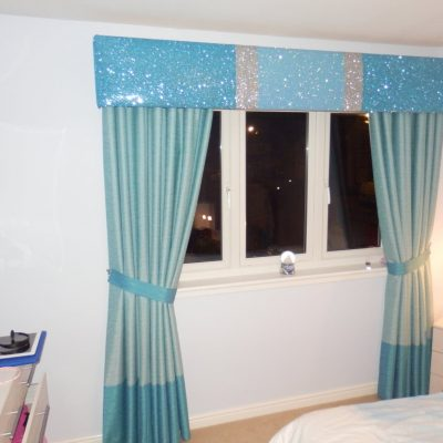 Turquoise glitter pelmet to create a Disney 'Frozen' themed room for a little girl