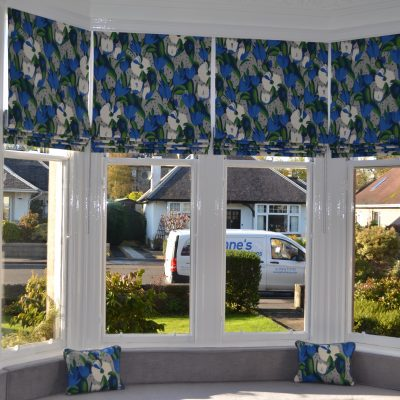 Roman blinds on a 4 point bay window